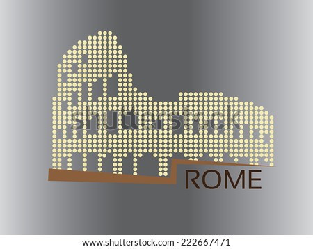 Rome - Colosseum dotted style illustration