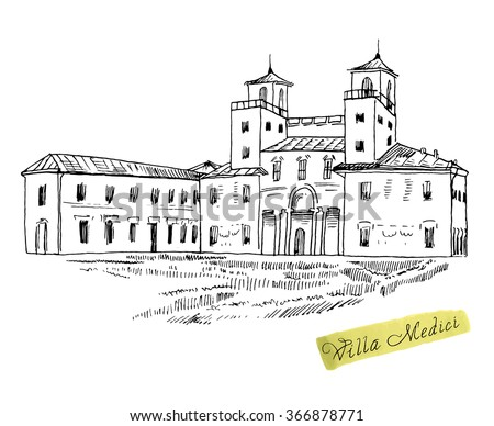 Rome famous building hand drawn vector stock vector for Jardin villa medicis rome