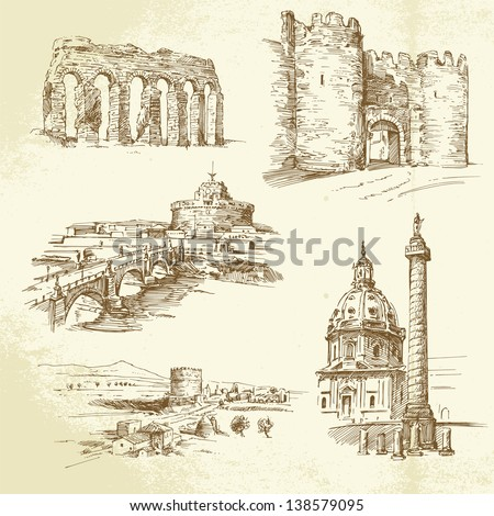 Rome - hand drawn set - stock vector