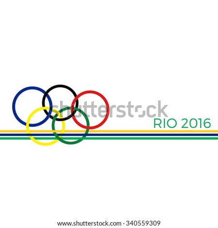 ROME, Italy -18 November 2015. Olympics Rio de Janeiro in 2016. Olympic rings on colors Brazilian flag. - stock vector