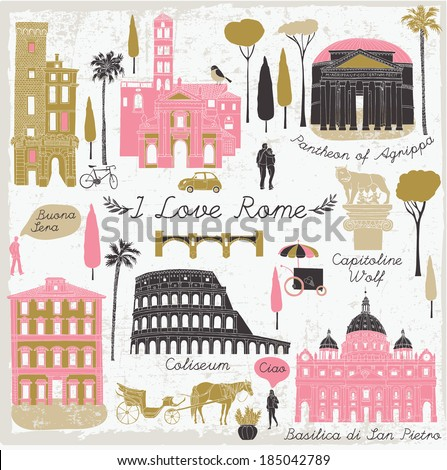 Rome landmarks and monuments - stock vector