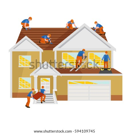 roof construction worker repair home build structure fixing rooftop tile house with labor equipment