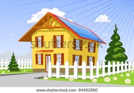 Roof solar panels, illustration - stock vector