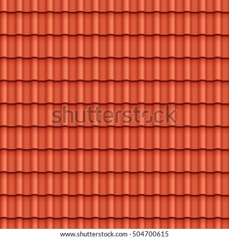 Roof tile seamless pattern for house covering in red color vector illustration
