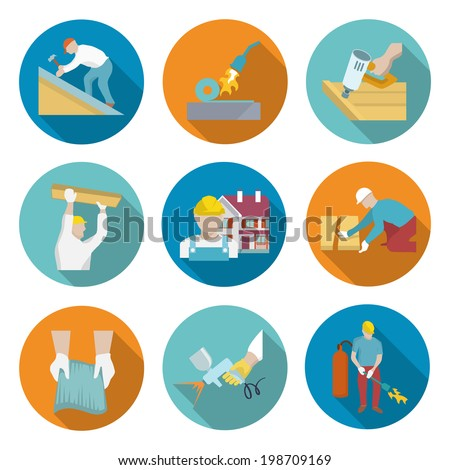Roofer profession house improvement long shadow round button icons set isolated vector illustration - stock vector