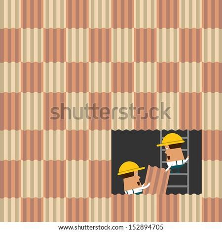Roofing Technician. Eps 10 vector design - stock vector