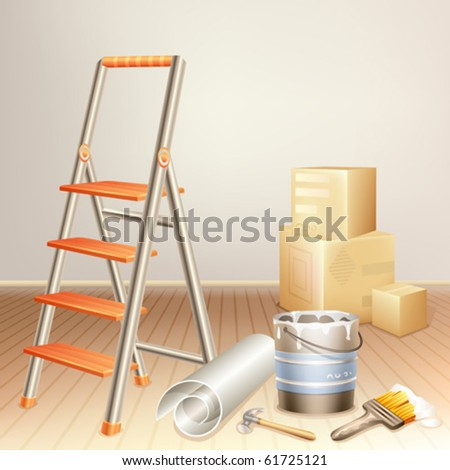 Room cluttered with tools and in the middle of the renovation process - stock vector