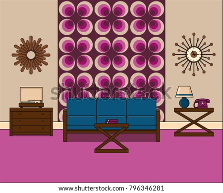 Room Flat Design Retro Living Room Stock Vector 796346281 - Shutterstock