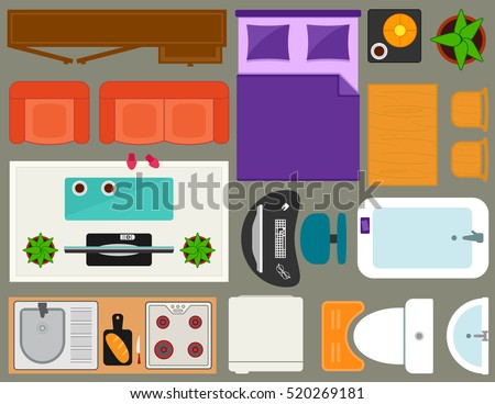 room interior apartment furniture set overhead top view. set of isolated furnishing object for apartment room interior in home