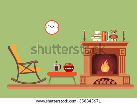 Room interior design with fireplace, rocking chair books, table, clock in evening time. Flat style vector illustration - stock vector