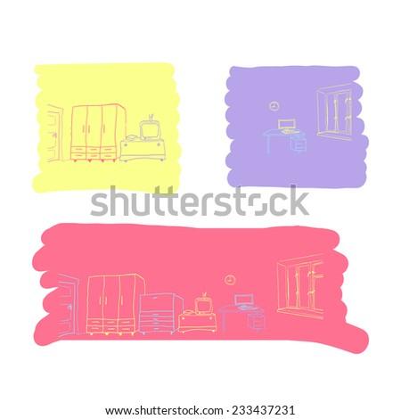 Room interior doodles. Hand drawn illustration. - stock vector