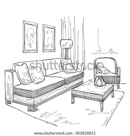 Room interior sketch. Hand drawn furniture - stock vector