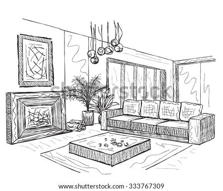 Stock Vector Vector Interior Sketch Design Of Bedroom Watercolor Sketching Idea On White Paper Background as well Index 40 moreover  on minimalist living room ceiling html