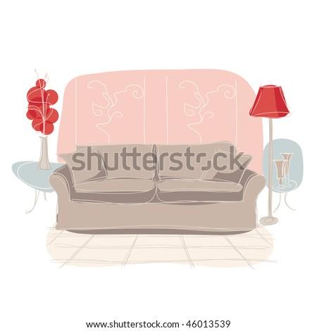 room interior sketch, vector - stock vector