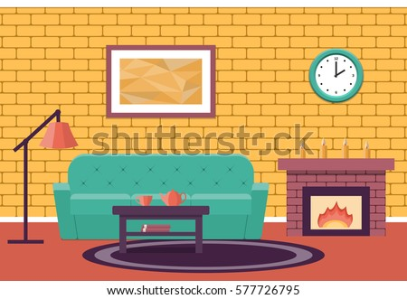 Room Interior Vector Living Design Lounge Cartoon Background In Flat With Fireplace