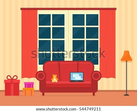 room interior with holiday gift. red apartment with holiday decor