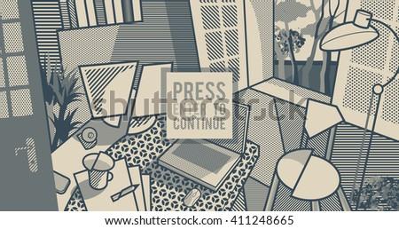 Room interior. Workspace. Monochrome pop art style background - stock vector