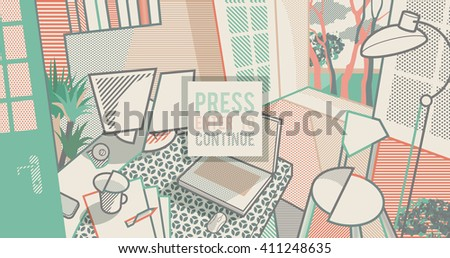 Room interior. Workspace. Pop art style background - stock vector