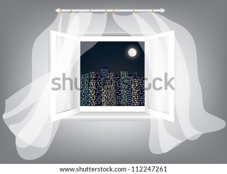 Room, opened window with night city scrape and curtains - stock vector