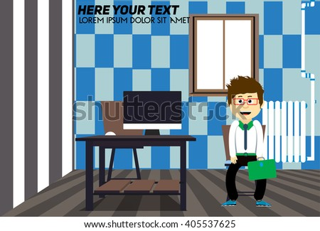 Room, table, chair. Flat Design Interior Living Room Vector Illustration. Workplace in room. modern interior. Business character in the room. Wooden desk with a computer. Chess procedure walls. - stock vector