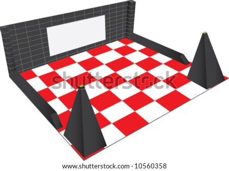 room, vector, art, 3d, stand