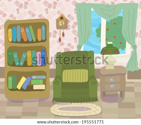Room with armchair - stock vector