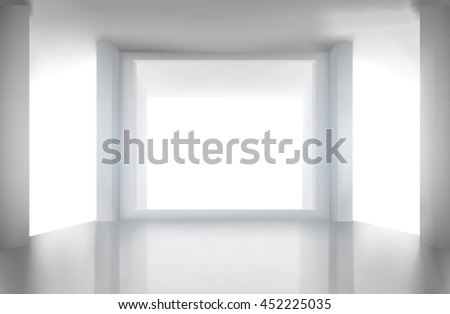 Room with large window. Vector illustration.