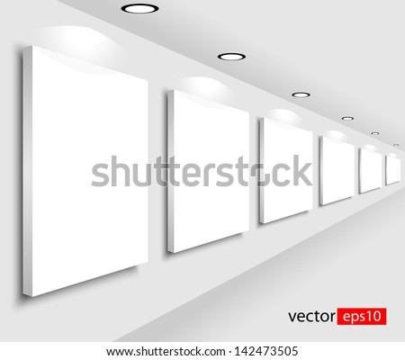 Room with pictures. Vector illustration - stock vector