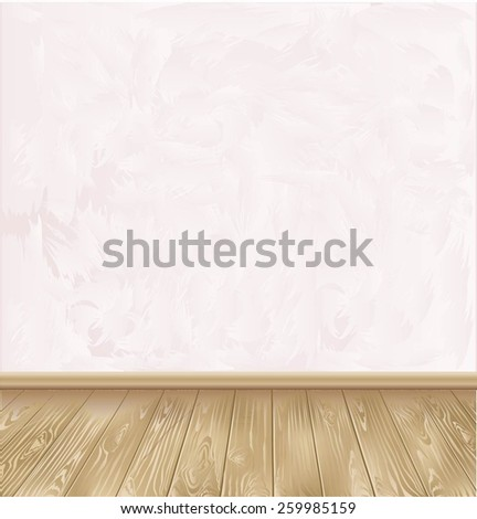 Room with wooden floors and plaster walls.
