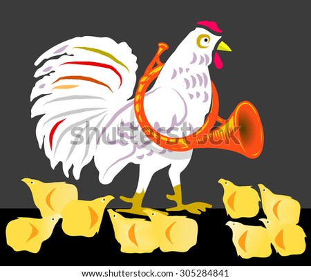 Rooster and chickens - stock vector
