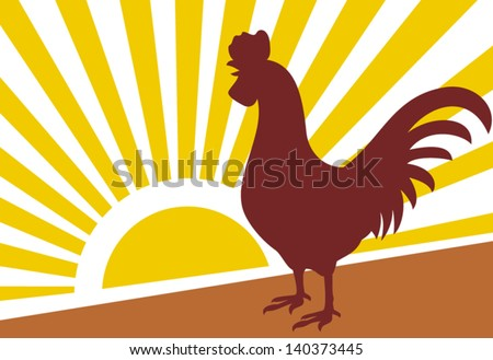 rooster and morning sun (rooster at dawn) - stock vector