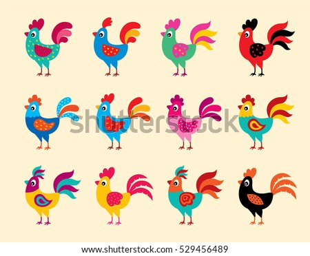 rooster chicken vector collection