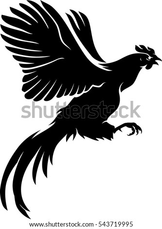 Rooster Flying Silhouette