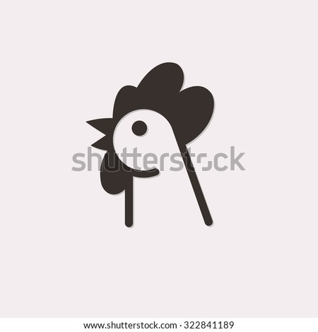 Rooster head abstract logo isolated on a white background - stock vector