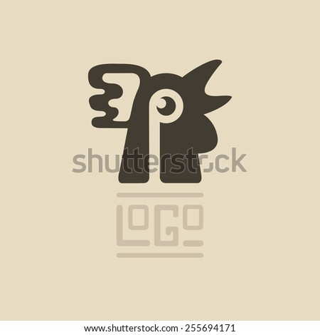 Rooster head abstract logo isolated on a white backgrounds - stock vector