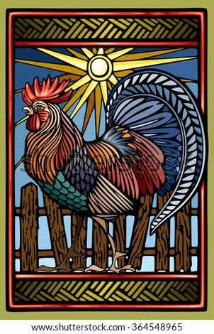 Rooster in color woodcut ethnic style   - stock vector