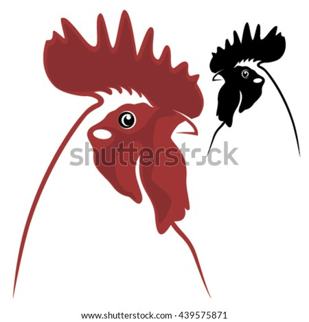Rooster symbols - in red and black colours - stock vector
