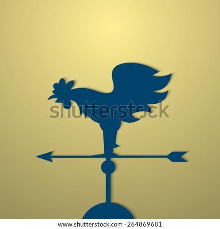 Rooster weather vane. Vector EPS10 - stock vector