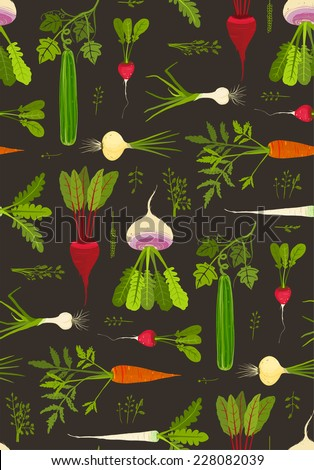 Root Vegetables with Leafy Tops Dark Seamless Pattern Background. Healthy dieting roots on black. EPS8 vector illustration. - stock vector