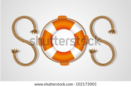 rope and float forming SOS signal, isolated on white background, vector illustration - stock vector