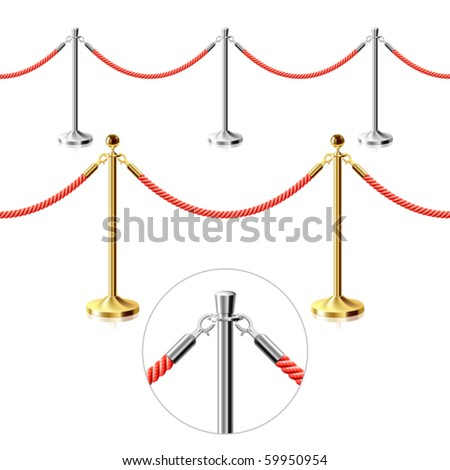 Rope barrier. Seamless vector. - stock vector
