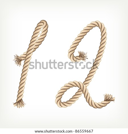 Rope digits 1, 2 - stock vector