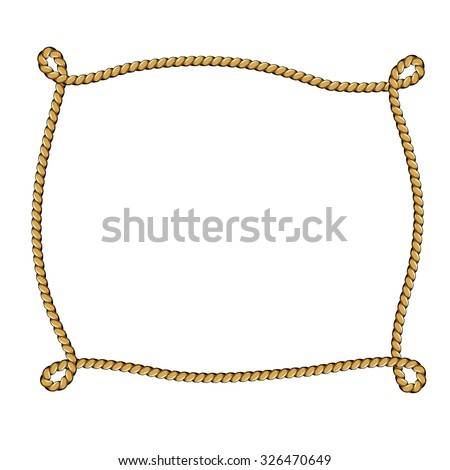 rope frame for your text on isolated white background vector illustration