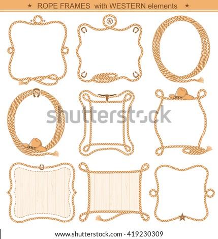 Rope frames background for text with cowboy elements isolated on white