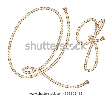 Rope Hand Draw Alphabet with Rope. Letter Q. Vector Illustration.