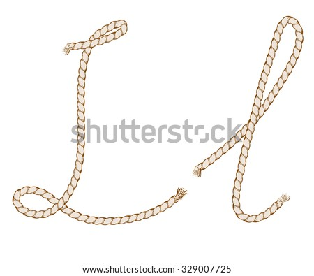 Rope Hand Drawn Alphabet with rope. Letter L. Vector Illustration.