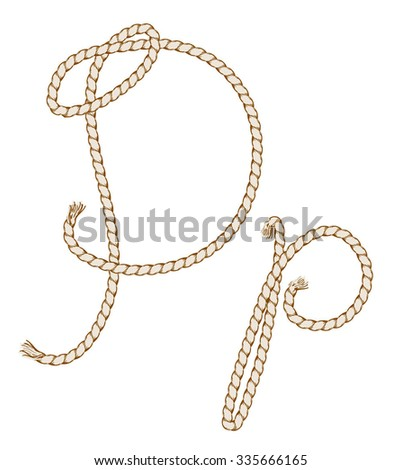 Rope Hand Drawn Alphabet with rope. Letter P. Vector Illustration.