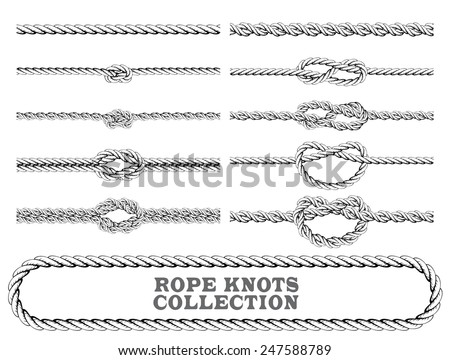 Rope knots collection. Overhand, Figure of eight and square knot. Seamless decorative elements. Vector illustration. - stock vector