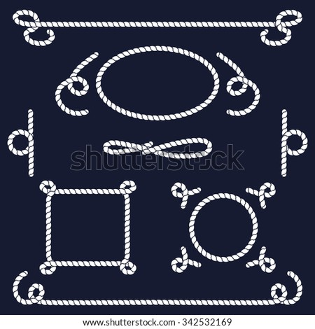 Rope knots collection. Rope swirls, logos and badges. Vector illustration. Marine rope knot. Vector Rope. Set of nautical rope knots, corners and frames. Decorative elements in nautical style. - stock vector