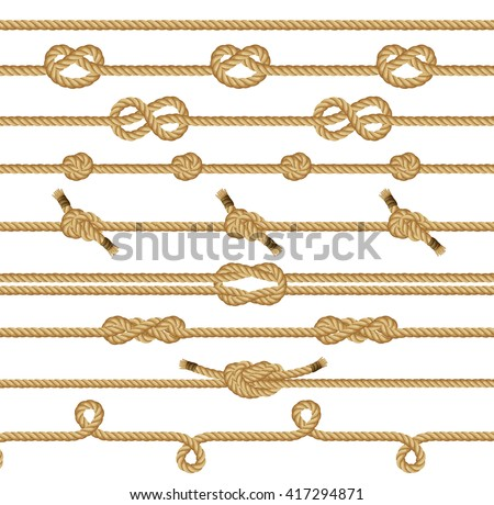 Rope knots collection. Seamless decorative elements. Vector illustration. - stock vector